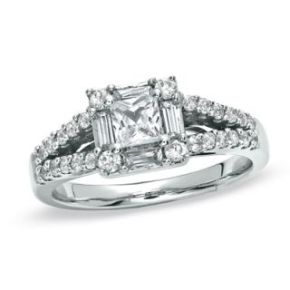 CT. T.W. Princess Cut Diamond Split Shank Engagement Ring in 14K