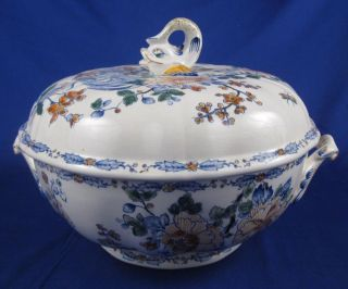 Gien France Delft Colorie Blue Rooster Soup Tureen RARE Paint Mein