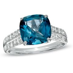 0mm London Blue Topaz and Lab Created White Sapphire Ring in