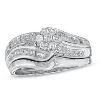 CT. T.W. Diamond Flower Cluster Bridal Set in Sterling Silver