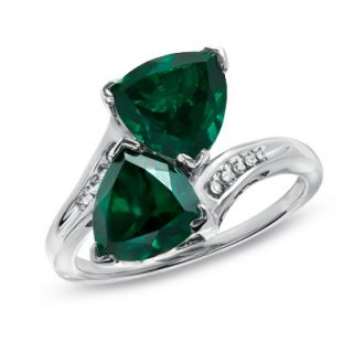 0mm Trillion Cut Lab Created Emerald Bypass Ring with Diamond