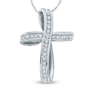 CT. T.W. Diamond Loop Cross Pendant in 10K White Gold   View All