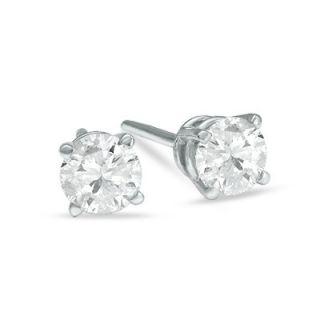 CTW. Diamond Solitaire Stud Earrings in 14K White Gold   Earrings