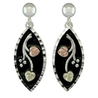 Black Hills Gold Antique Finished Leaf Drop Earrings in Sterling