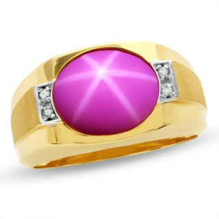Mens Oval Lab Created Red Star Ruby Ring in 10K Gold with Diamond