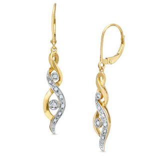 Diamond Accent Linear Twist Earrings in 14K Gold   Earrings   Zales