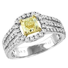 CT. T.W. Radiant Cut Natural Fancy Yellow and White Diamond