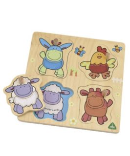 ELC Wooden Farm Animal Lift Out Puzzle   childrens puzzles