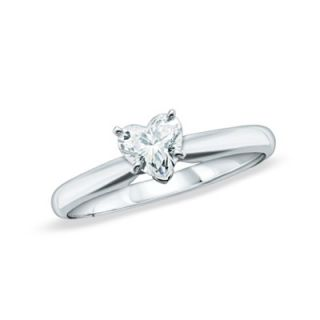 CT. Heart Shaped Diamond Solitaire Engagement Ring in 14K White
