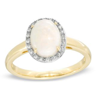 Oval Opal and Diamond Accent Ring in 14K Gold   Rings   Zales