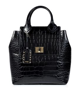 Emilio Pucci Black Croco Embossed Leather Tote  Damen  Taschen