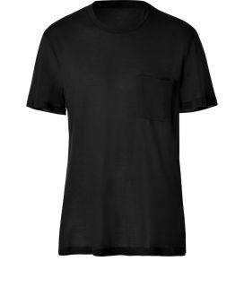 James Perse Black S/S Crew Neck Pocket Tee  Herren  T Shirts