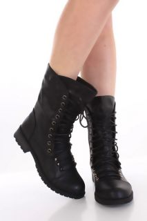 Black Faux Leather Lace Up Tie Closed Toe Midcalf Combat Flat Boots
