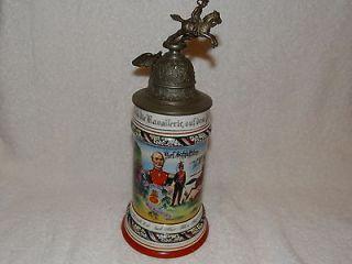 antique German porcelain regimental beer stein lithophane base 11
