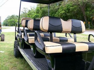 Club Car Precedent Golf Cart Custom Seat Covers Front & Rear(Tan/Black