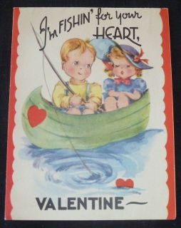 Doubl Glo UNUSED Valentine Boy & Girl FISHING IN ROWBOAT FISHIN FOR