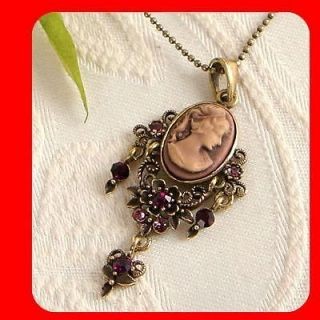 Choco Crystal Vintage ST Antique Gold GP CAMEO pendant necklace n1465
