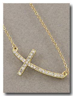 gold sideways cross necklace in Fashion Jewelry