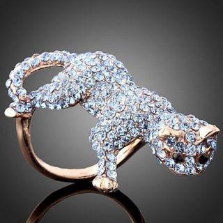 Ball Jewelry Full Blue Swarovski Crystal Cat Rose Gold GP Ring sz 8