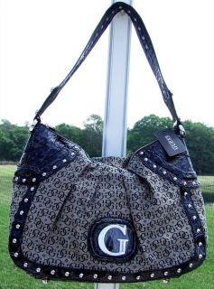 GUESS BY MARCIANO BLACK LOGO FABRIC FAUX LEATHER CROCO ZIP TOP HANDBAG