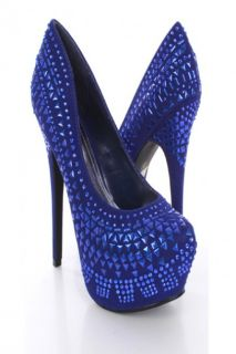 Home / Royal Blue Rhinestone Studded Faux suede Sexy Platform Heels