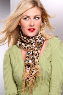 Tan Leo Printed Soft Plush Scarf @ Amiclubwear scarf Online Store