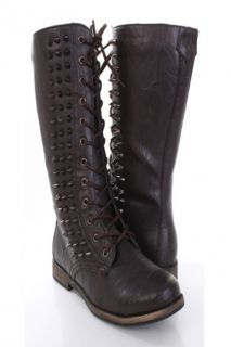 Dark Brown Faux Leather Spike Studded Combat Boots @ Amiclubwear Boots