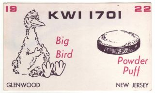 QSL CB Radio Card New Jersey NJ Glenwood KWI 1701 Big Bird Sesame