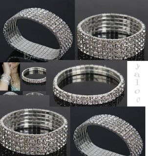 ROW Crystal Rhinestone Wedding Stretchy Bracelet Bling Wristband