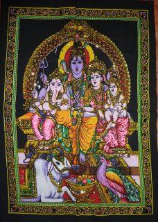 Shiva & Parvati & Ganesh & Nandi Sequinned Wall Hanging