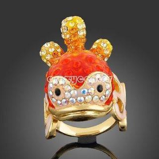 cute 18k yellow GOLD GP Swarovski crystal orange clown fish ring R51