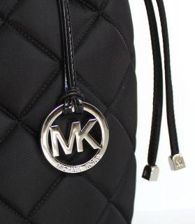 NWT WOMENS MICHAEL KORS BLACK QUILT XLG DRAWSTRING NYLON TOTE BAG