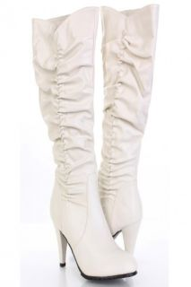 Cream Faux Leather High Ruched Boots @ Amiclubwear Boots Catalogwomen