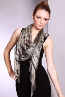 OLIVE BLACK MULTI STRIPE OPEN KNIT FRINGE SCARF @ Amiclubwear scarf
