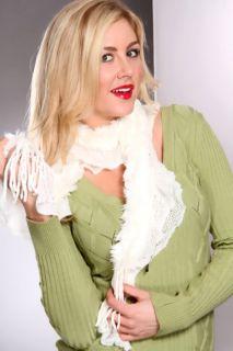 White Faux Fur Fringed Edges Flutter Design Scarf @ Amiclubwear scarf