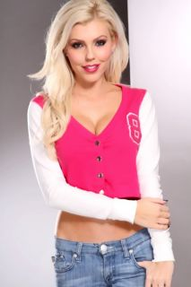 Home / Fuchsia White Two Tone Button Up Long Sleeves Cropped Sweater
