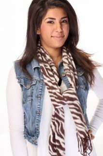 Brown Zebra Print Twisted Fringed Ends Scarf @ Amiclubwear scarf