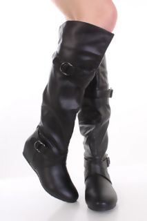 Black Crinkle Faux Leather Buckle Strap Knee High Boots @ Amiclubwear