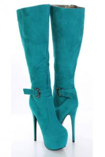 Home / Teal Faux Suede Buckle Strapped AMIclubwear Platform Boots