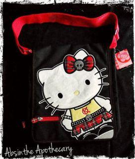 Hello Kitty PUNK Rock School Girl Plaid Messenger Bag Purse Emo Kawaii