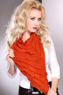 Rust Soft Ruffled Edges Infinity Scarf @ Amiclubwear scarf Online