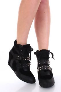 Black Faux Suede Leather Spike Studded Strap Sneaker Wedges