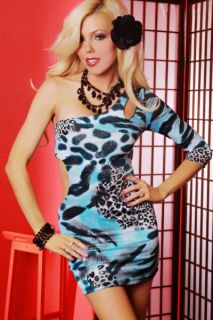 BLUE LEOPARD PRINT ONE SHOULDER SLEEVE MINI DRESS