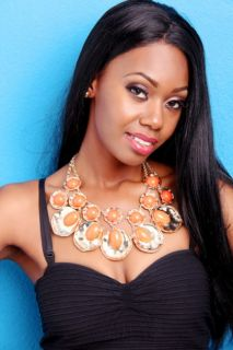 ORANGE GOLD TEXTURE OVAL STYLE NECKLACE EARRINGS SET @ Amiclubwear