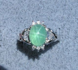 LINDE LINDY TRN SPRING GREEN STAR SAPPHIRE CREATED RING