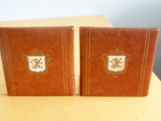 Vintage Set Brown Bookends Book Ends crest shield griffin