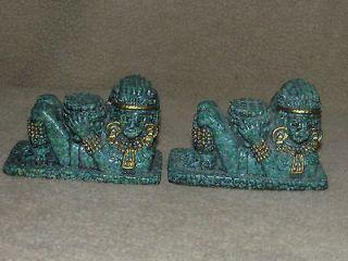 Mexican hand carved resin Mayan Maya warrior Guerrero De Jaina Statue
