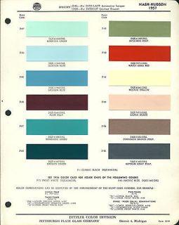1957 NASH HUDSON Color Chip Paint Sample Brochure / Chart PPG
