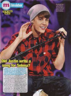 10 MINI PIN UP CLIPPING: Justin Bieber & Microphone b/w Zendaya