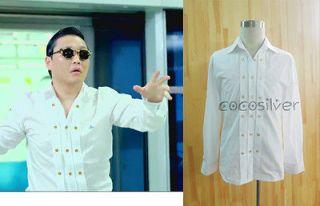 Gangnam Style dance Costume White T Shirt only halloween tuxedo Size L